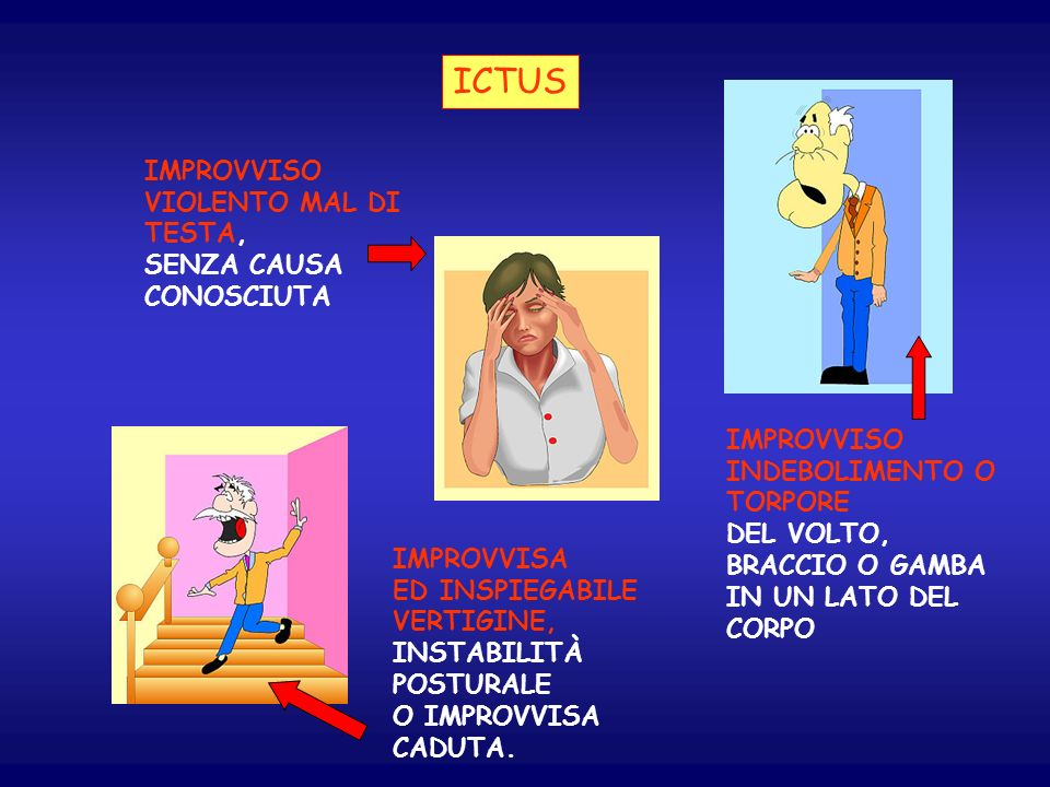 ICTUS IMPROVVISO VIOLENTO MAL DI TESTA, SENZA CAUSA CONOSCIUTA