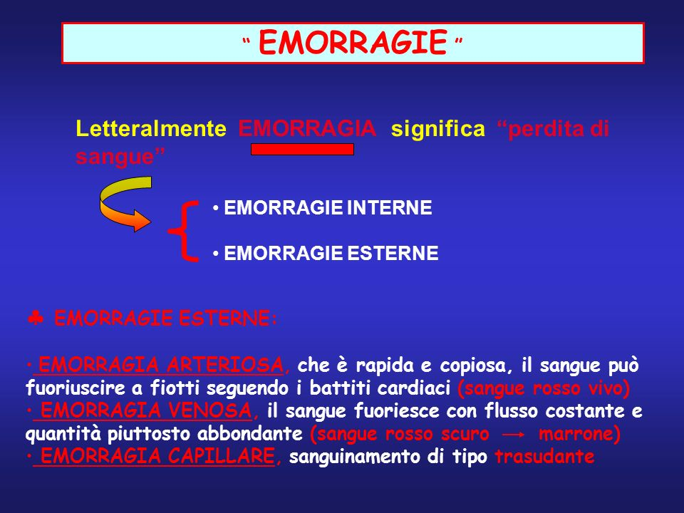 EMORRAGIE Letteralmente EMORRAGIA significa perdita di sangue EMORRAGIE INTERNE. EMORRAGIE ESTERNE.