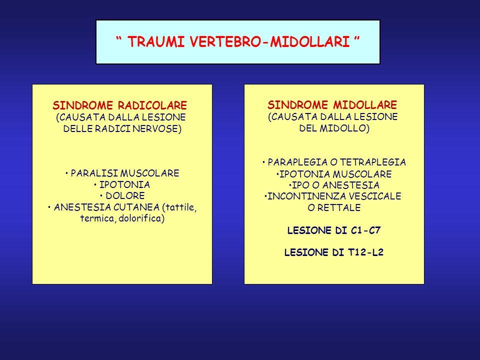 TRAUMI VERTEBRO-MIDOLLARI