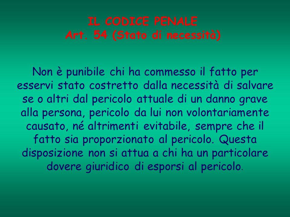 IL CODICE PENALE Art. 54 (Stato di necessità)