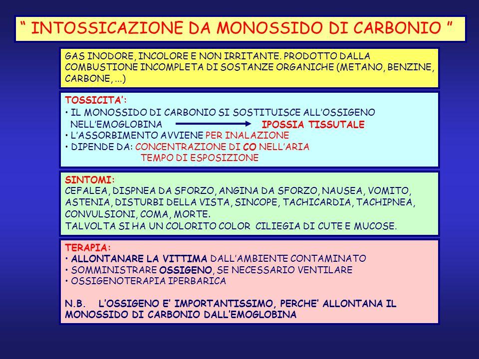 INTOSSICAZIONE DA MONOSSIDO DI CARBONIO