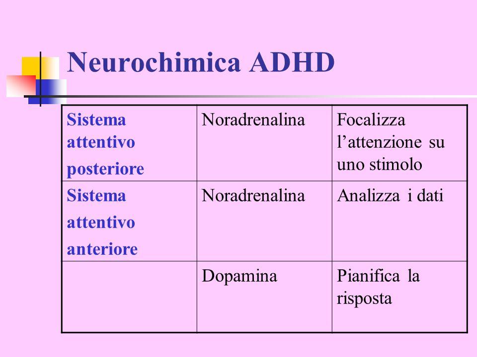 Neurochimica ADHD Sistema attentivo posteriore Noradrenalina
