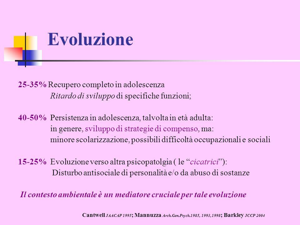 Evoluzione 25-35% Recupero completo in adolescenza
