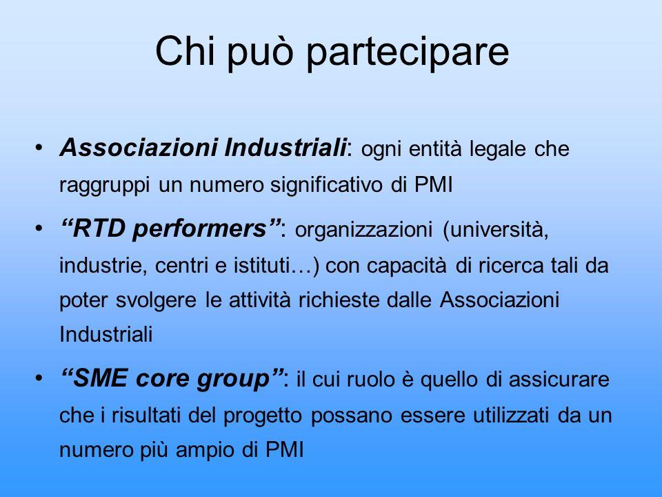 Chi può partecipare Associazioni Industriali: ogni entità legale che raggruppi un numero significativo di PMI.