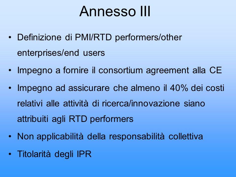Annesso III Definizione di PMI/RTD performers/other enterprises/end users. Impegno a fornire il consortium agreement alla CE.