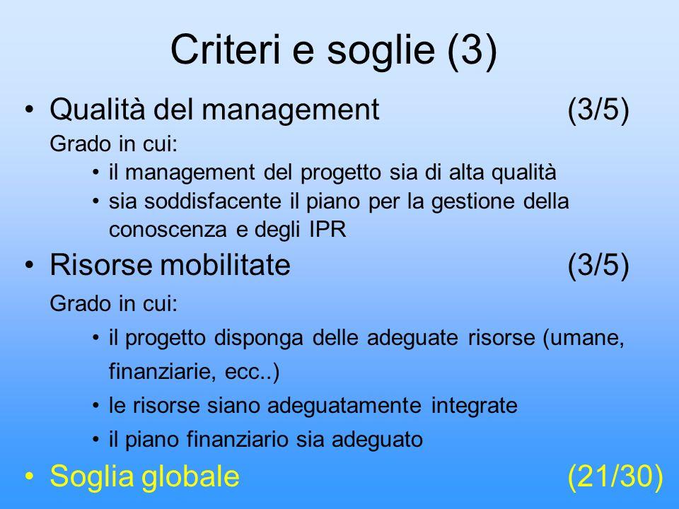 Criteri e soglie (3) Qualità del management (3/5)