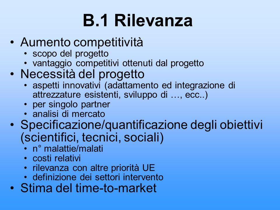 B.1 Rilevanza Aumento competitività Necessità del progetto