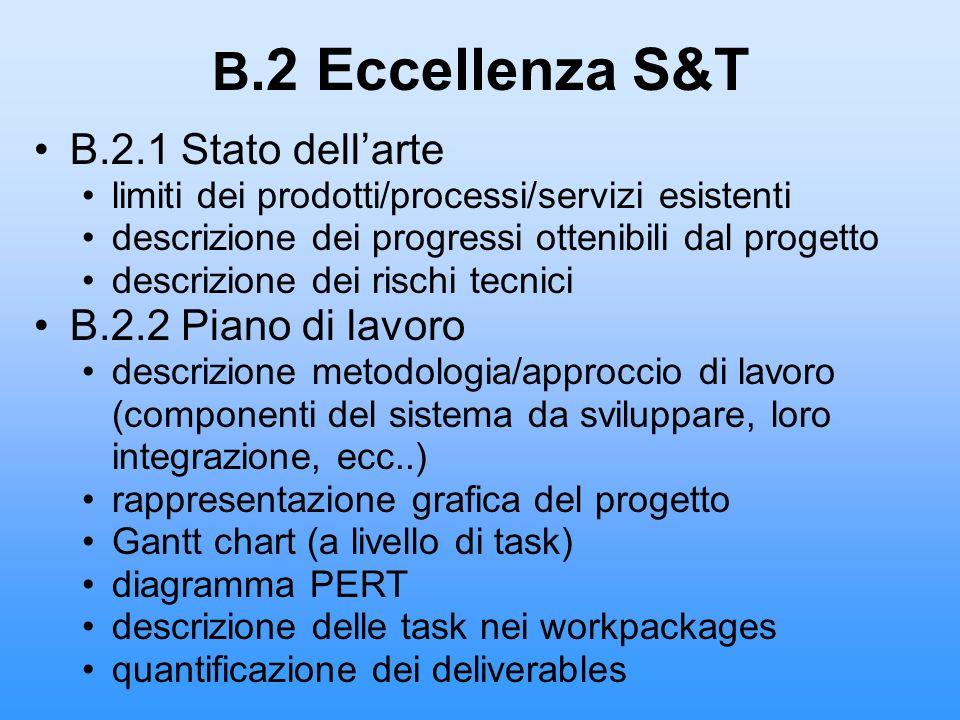B.2 Eccellenza S&T B.2.1 Stato dell'arte B.2.2 Piano di lavoro
