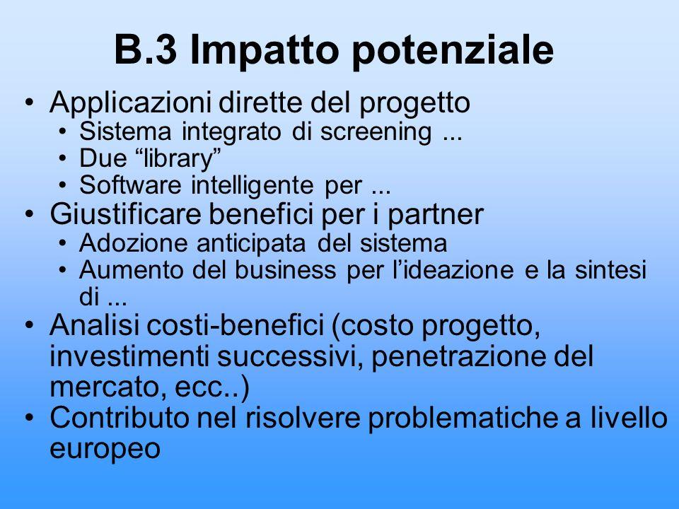 B.3 Impatto potenziale Applicazioni dirette del progetto