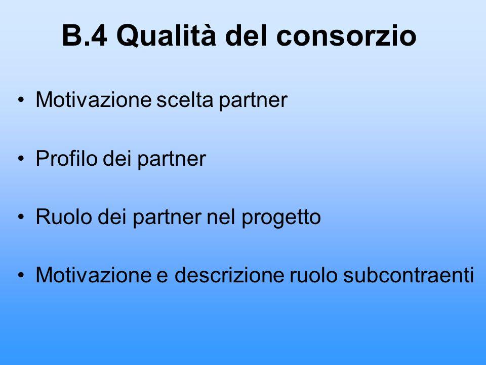 B.4 Qualità del consorzio