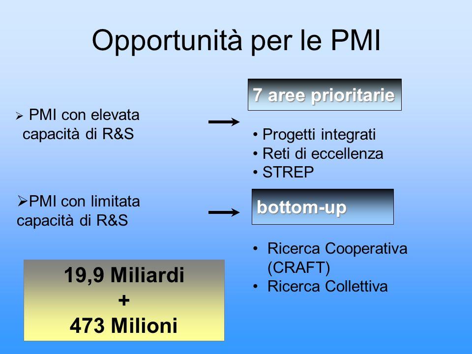 Opportunità per le PMI 19,9 Miliardi + 473 Milioni 7 aree prioritarie
