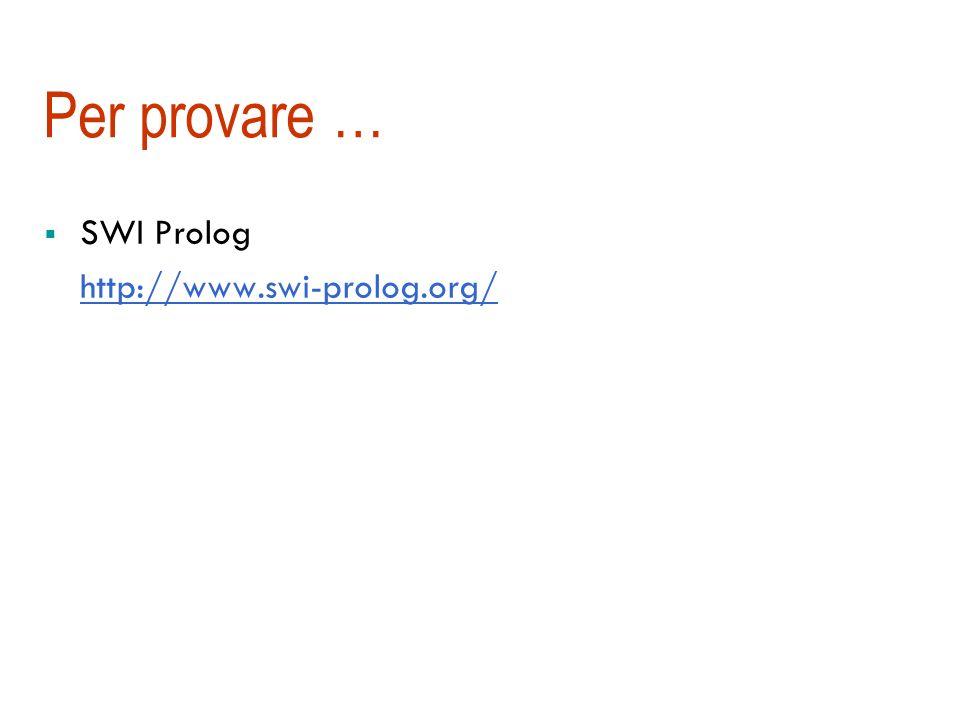 Per provare … SWI Prolog http://www.swi-prolog.org/
