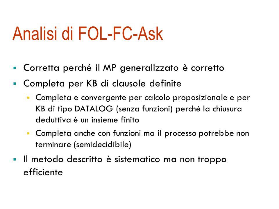 Analisi di FOL-FC-Ask Corretta perché il MP generalizzato è corretto