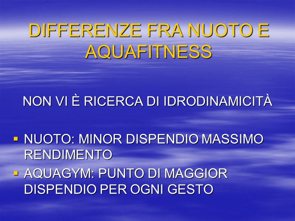 DIFFERENZE FRA NUOTO E AQUAFITNESS