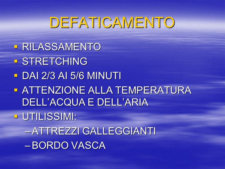 DEFATICAMENTO RILASSAMENTO STRETCHING DAI 2/3 AI 5/6 MINUTI