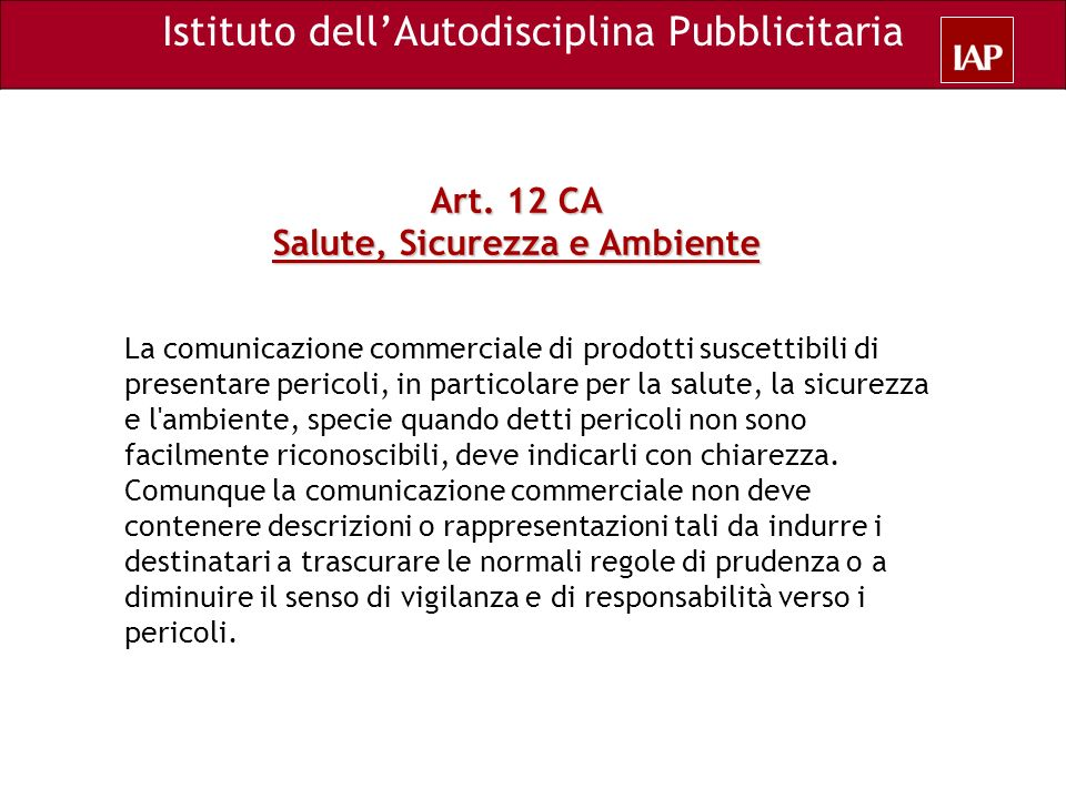 Art. 12 CA Salute, Sicurezza e Ambiente