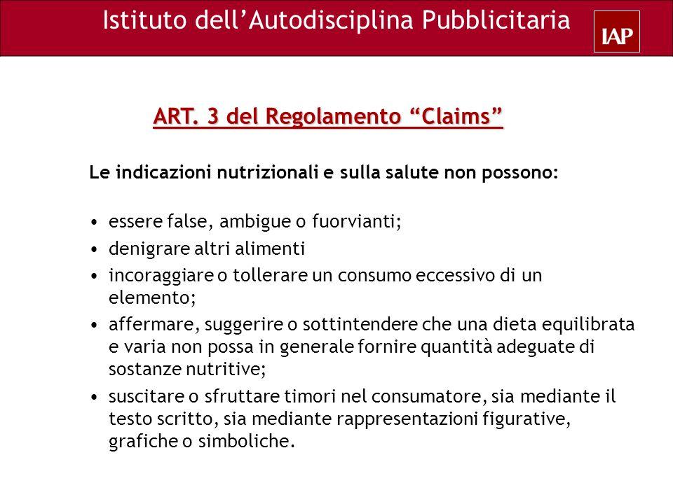 ART. 3 del Regolamento Claims