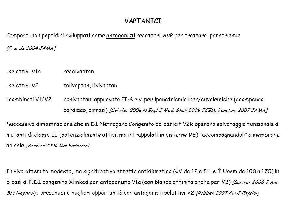 VAPTANICI Composti non peptidici sviluppati come antagonisti recettori AVP per trattare iponatriemie.