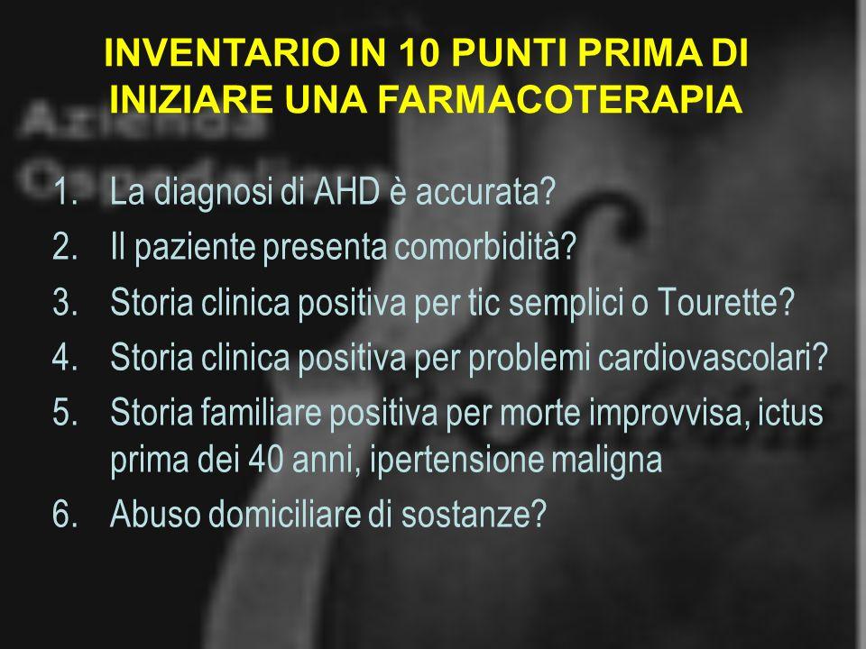 INVENTARIO IN 10 PUNTI PRIMA DI INIZIARE UNA FARMACOTERAPIA