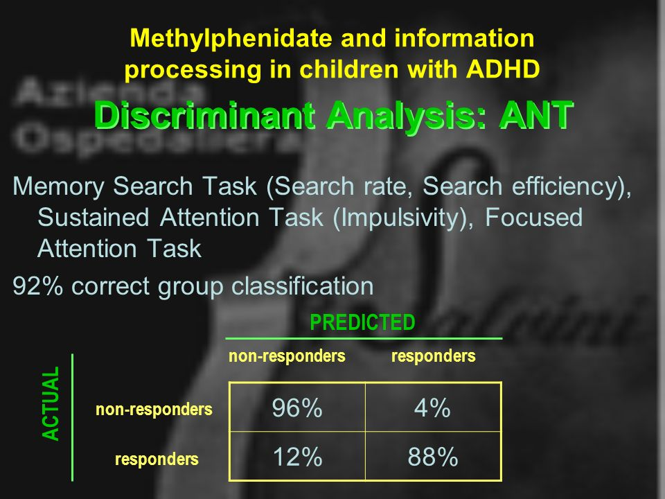 Methylphenidate and information processing in children with ADHD