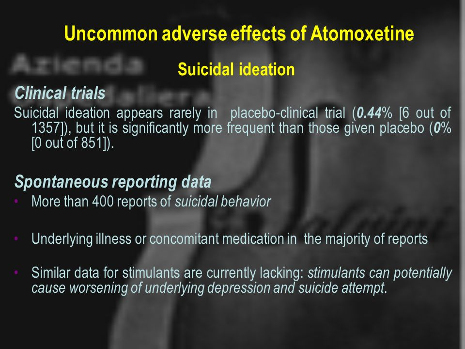 Uncommon adverse effects of Atomoxetine Suicidal ideation