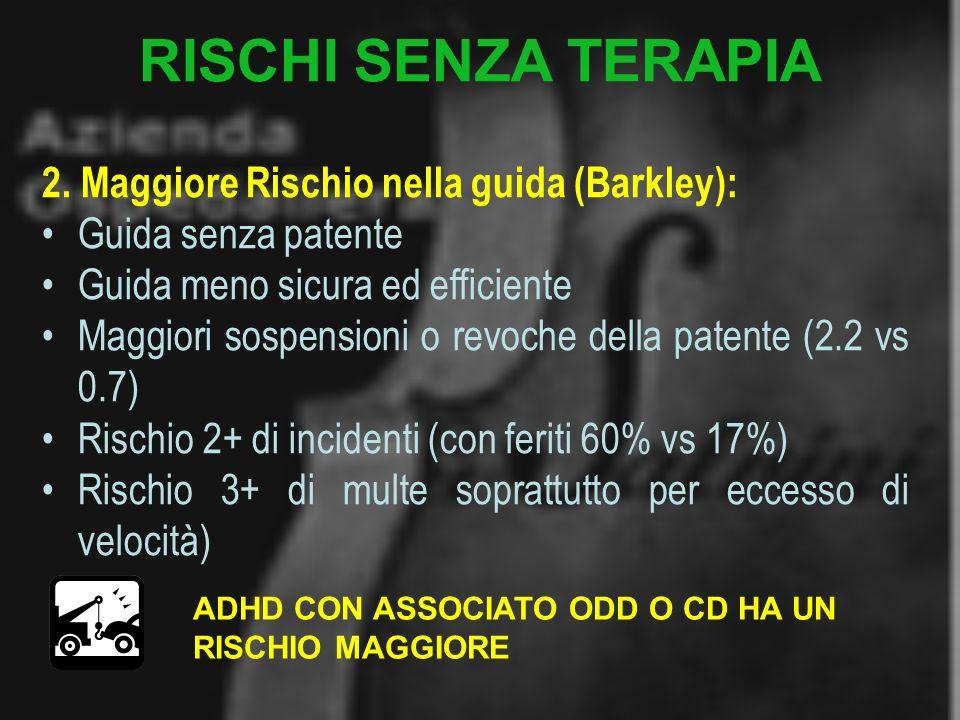 RISCHI SENZA TERAPIA 2. Maggiore Rischio nella guida (Barkley):