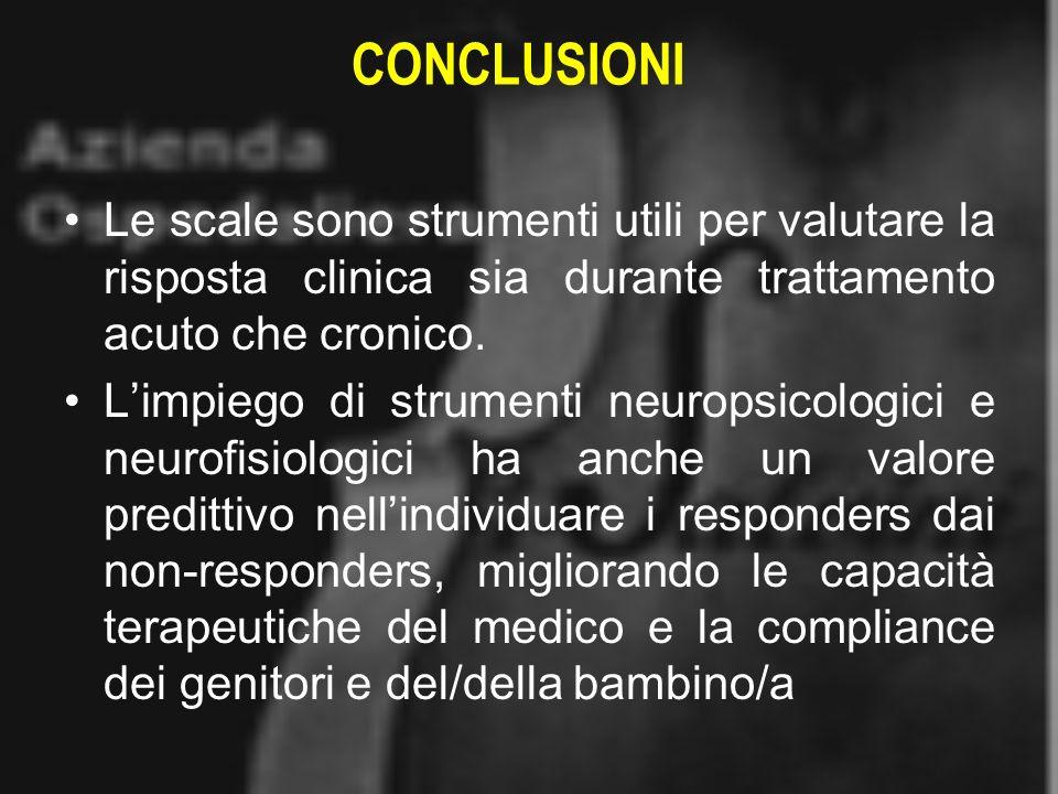 CONCLUSIONI Le scale sono strumenti utili per valutare la risposta clinica sia durante trattamento acuto che cronico.