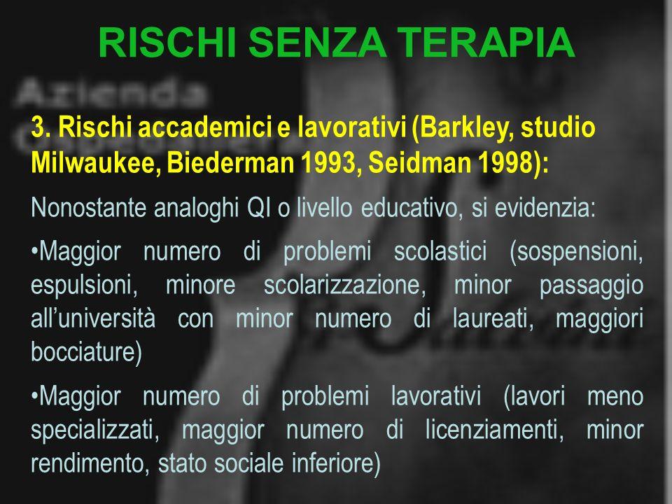 RISCHI SENZA TERAPIA 3. Rischi accademici e lavorativi (Barkley, studio Milwaukee, Biederman 1993, Seidman 1998):