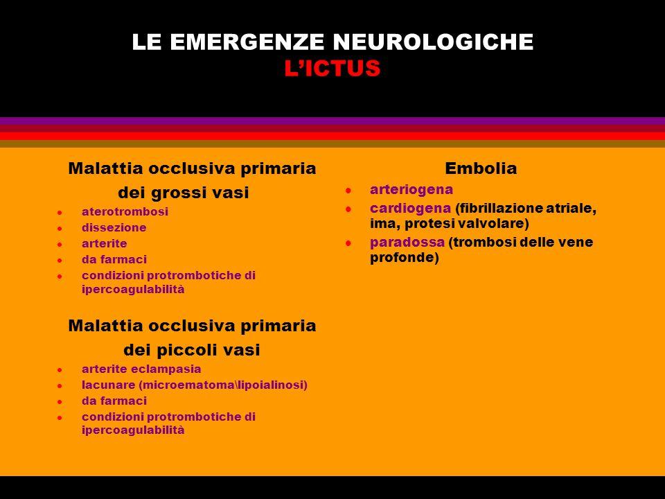 LE EMERGENZE NEUROLOGICHE L'ICTUS