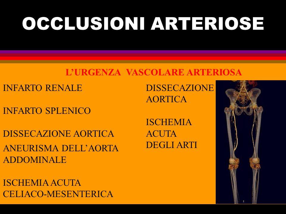OCCLUSIONI ARTERIOSE L'URGENZA VASCOLARE ARTERIOSA INFARTO RENALE