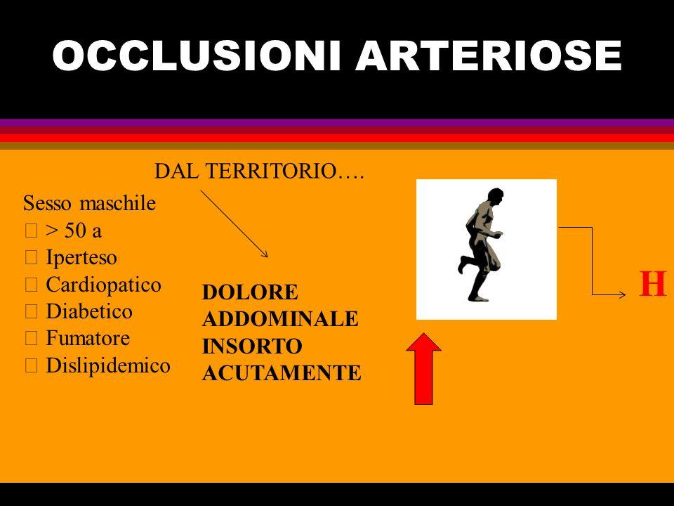 OCCLUSIONI ARTERIOSE H DAL TERRITORIO…. Sesso maschile  > 50 a