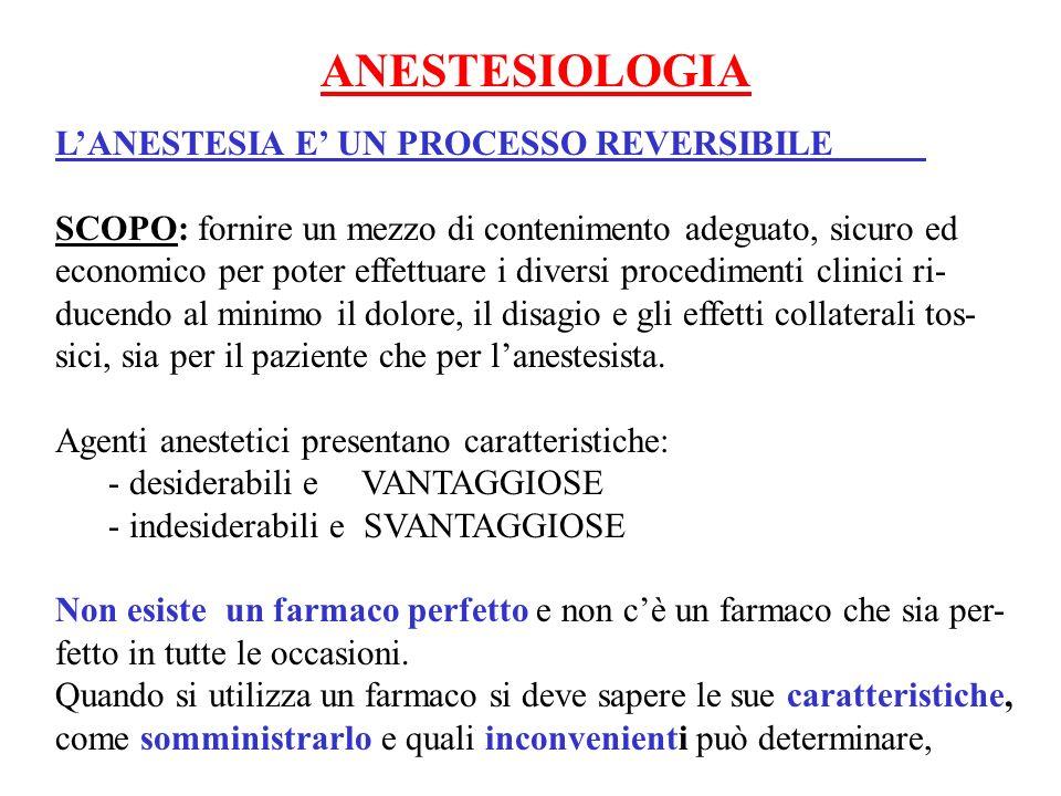 ANESTESIOLOGIA L'ANESTESIA E' UN PROCESSO REVERSIBILE