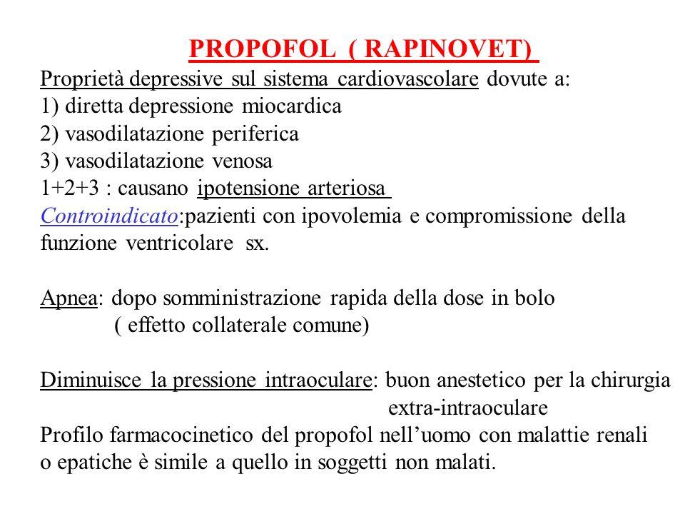 PROPOFOL ( RAPINOVET) Proprietà depressive sul sistema cardiovascolare dovute a: 1) diretta depressione miocardica.