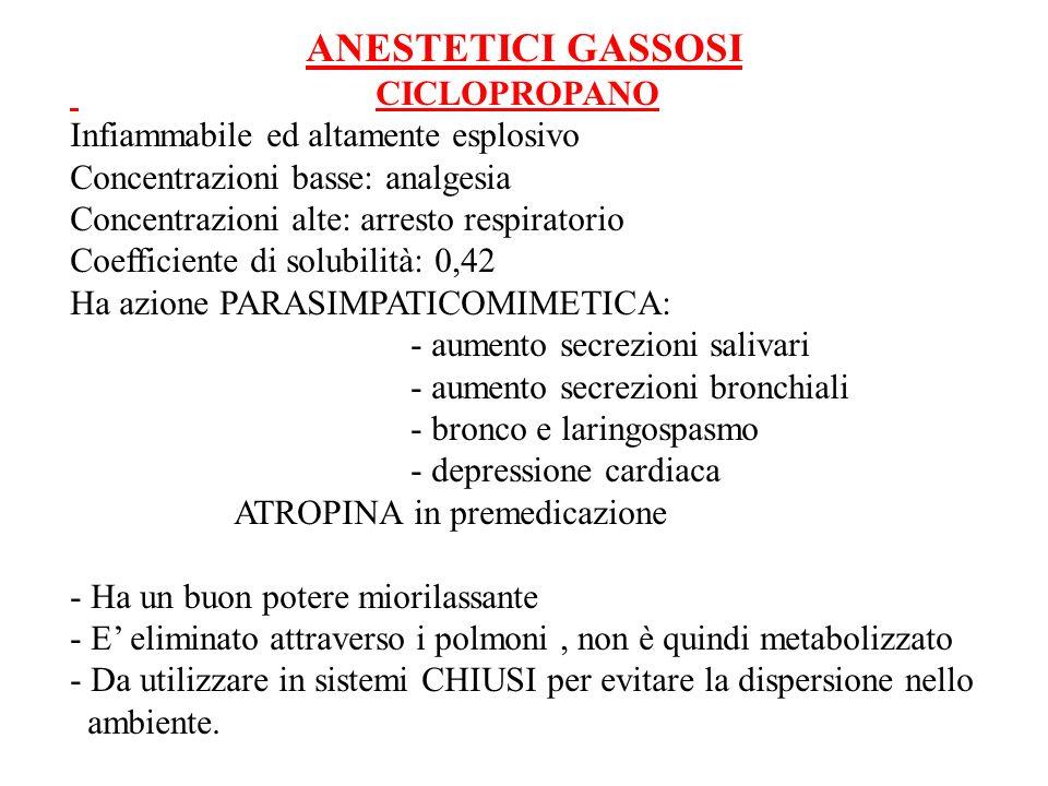 ANESTETICI GASSOSI CICLOPROPANO. Infiammabile ed altamente esplosivo. Concentrazioni basse: analgesia.