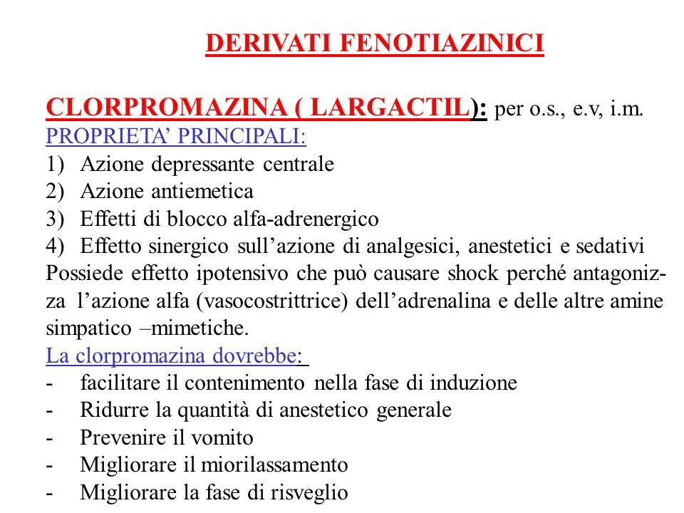 CLORPROMAZINA ( LARGACTIL): per o.s., e.v, i.m.