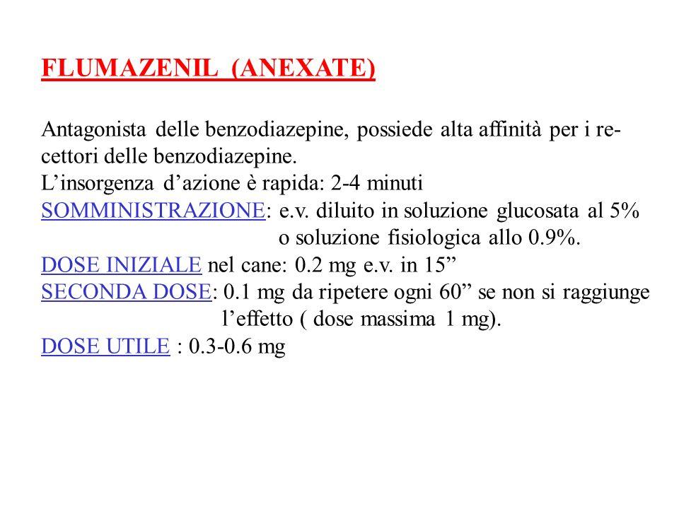 FLUMAZENIL (ANEXATE) Antagonista delle benzodiazepine, possiede alta affinità per i re- cettori delle benzodiazepine.