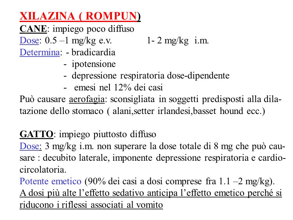 XILAZINA ( ROMPUN) CANE: impiego poco diffuso
