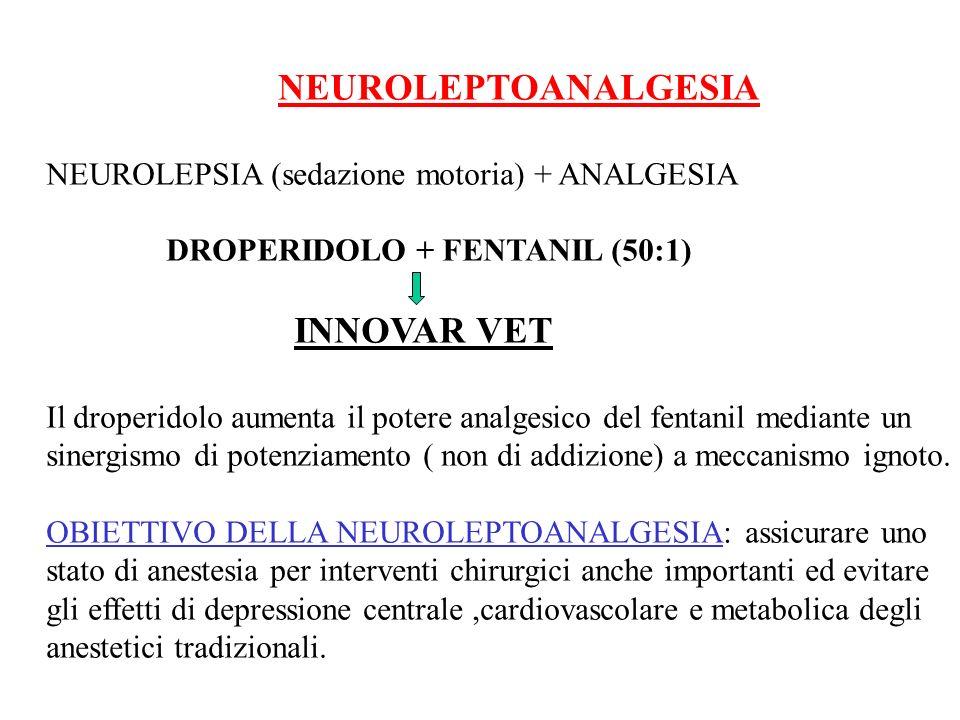 NEUROLEPTOANALGESIA NEUROLEPSIA (sedazione motoria) + ANALGESIA. DROPERIDOLO + FENTANIL (50:1) INNOVAR VET.