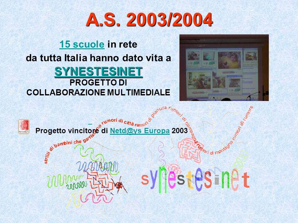 A.S. 2003/2004 SYNESTESINET 15 scuole in rete