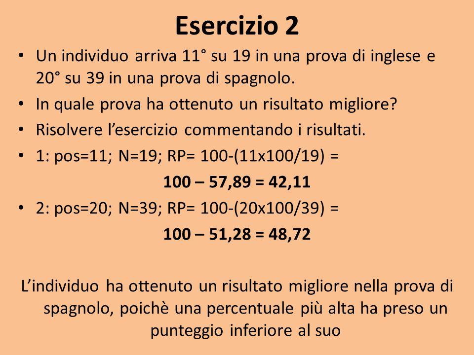 Esercizio 2 Un individuo arriva 11° su 19 in una prova di inglese e 20° su 39 in una prova di spagnolo.