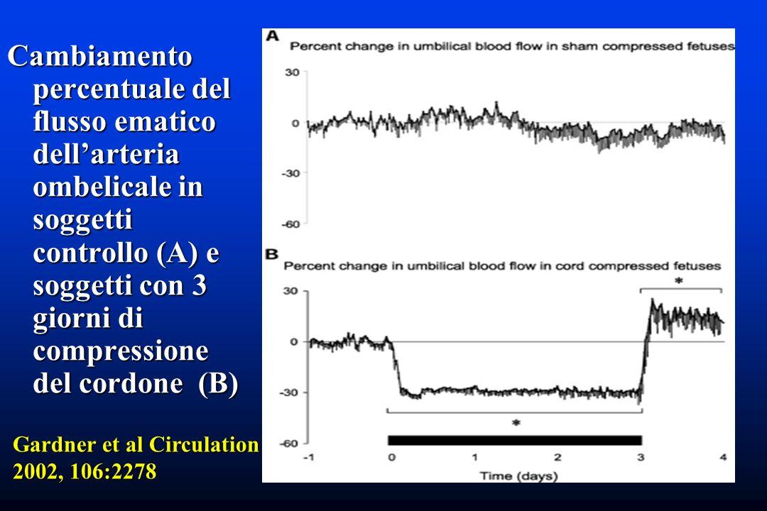 Cambiamento percentuale del flusso ematico dell'arteria ombelicale in soggetti controllo (A) e soggetti con 3 giorni di compressione del cordone (B)