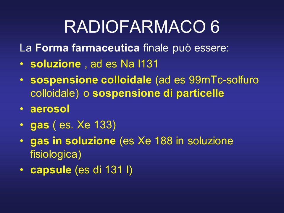 RADIOFARMACO 6 La Forma farmaceutica finale può essere: