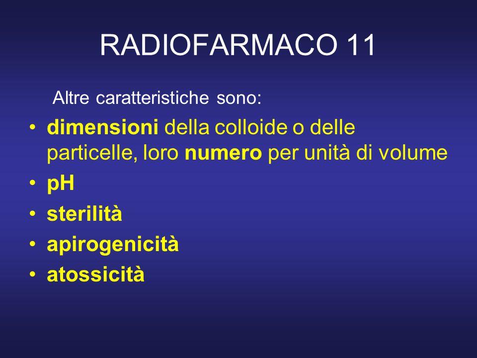 RADIOFARMACO 11 Altre caratteristiche sono: dimensioni della colloide o delle particelle, loro numero per unità di volume.