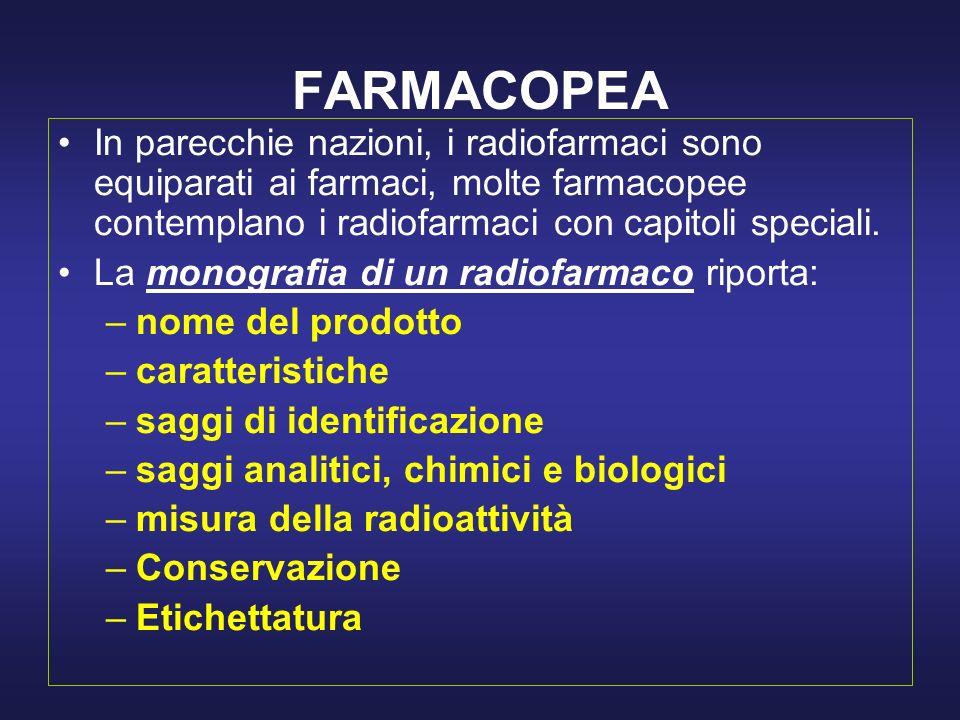 FARMACOPEA In parecchie nazioni, i radiofarmaci sono equiparati ai farmaci, molte farmacopee contemplano i radiofarmaci con capitoli speciali.