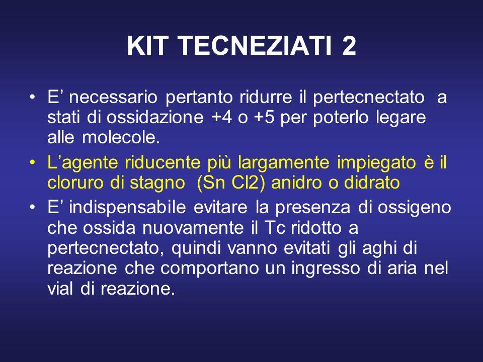 KIT TECNEZIATI 2 E' necessario pertanto ridurre il pertecnectato a stati di ossidazione +4 o +5 per poterlo legare alle molecole.