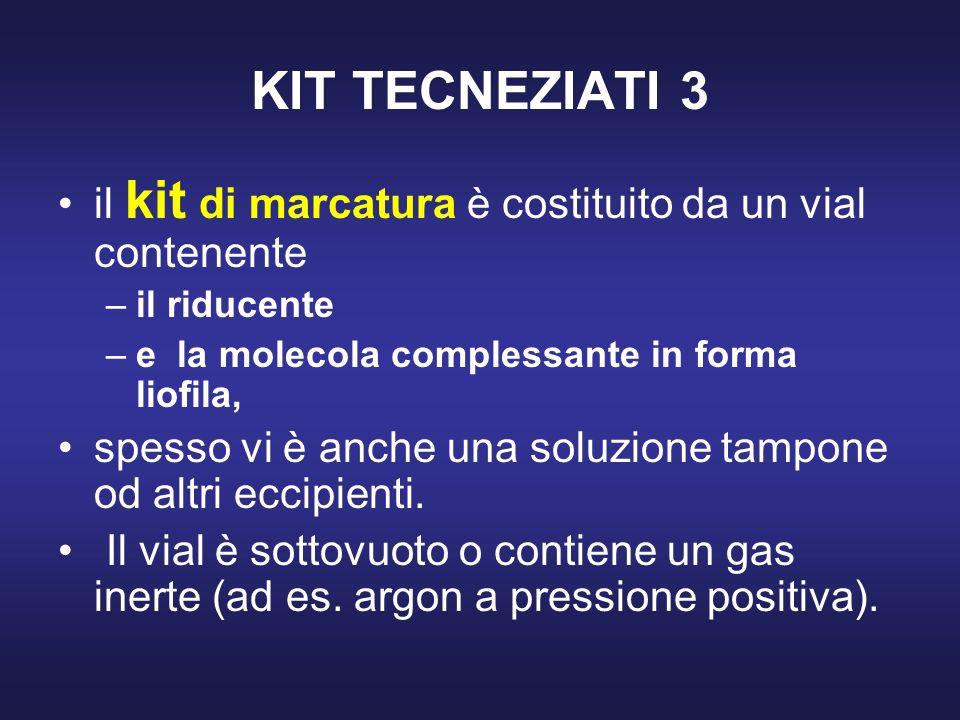 KIT TECNEZIATI 3 il kit di marcatura è costituito da un vial contenente. il riducente. e la molecola complessante in forma liofila,