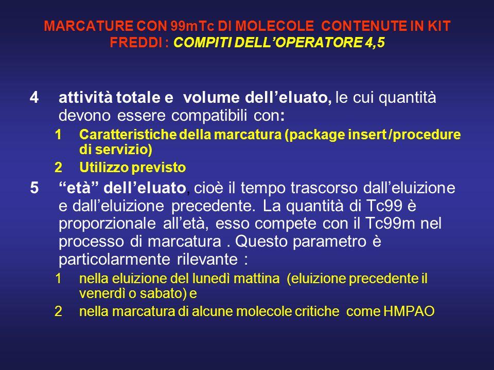 MARCATURE CON 99mTc DI MOLECOLE CONTENUTE IN KIT FREDDI : COMPITI DELL'OPERATORE 4,5