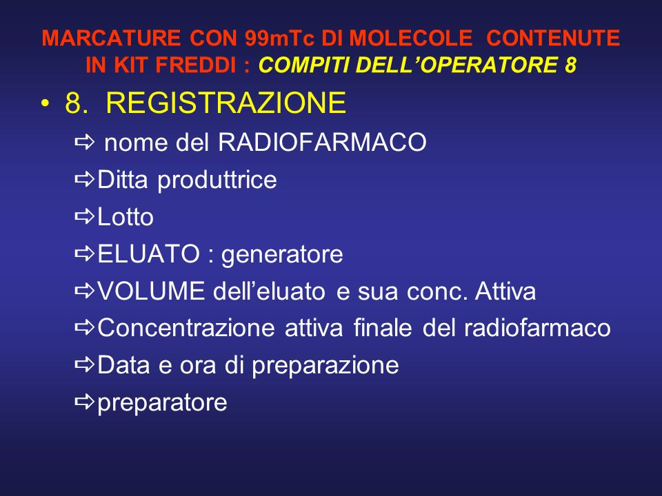 8. REGISTRAZIONE nome del RADIOFARMACO Ditta produttrice Lotto
