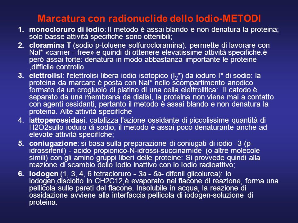Marcatura con radionuclide dello Iodio-METODI