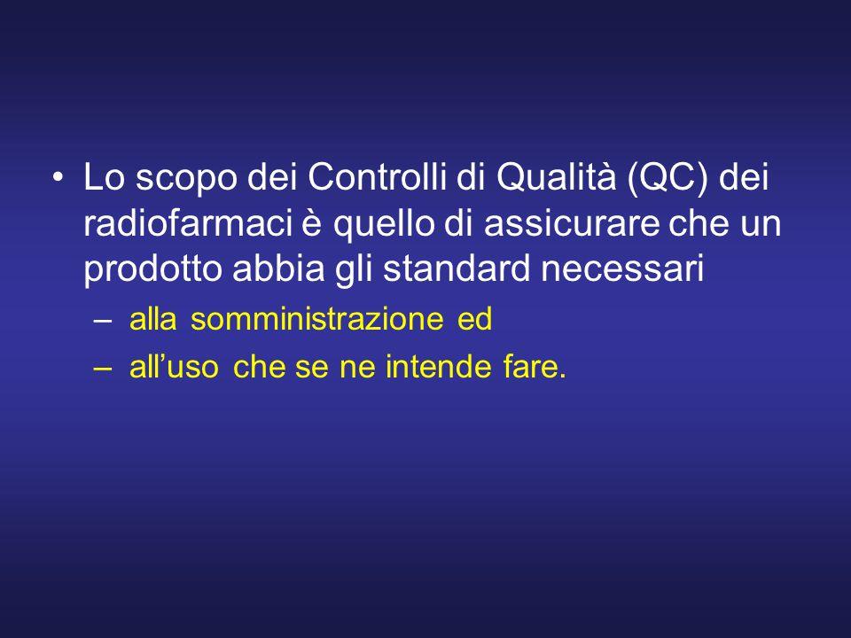 Lo scopo dei Controlli di Qualità (QC) dei radiofarmaci è quello di assicurare che un prodotto abbia gli standard necessari
